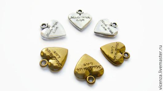Подвеска `Сердце`  `Made with love` Цвет: античное серебро, античное золото