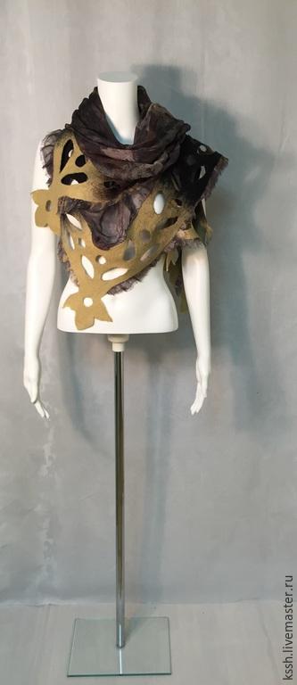 """Шарфы и шарфики ручной работы. Ярмарка Мастеров - ручная работа. Купить Шаль-платок  """"Оттепель"""". Handmade. Разноцветный, платок шелковый"""