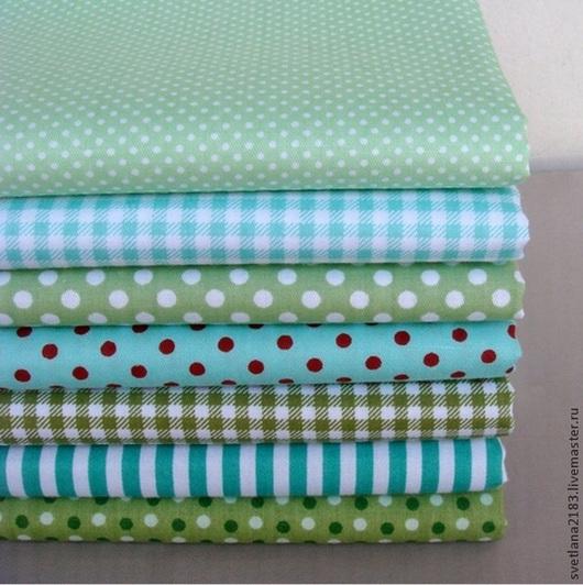 Шитье ручной работы. Ярмарка Мастеров - ручная работа. Купить Набор ткани зеленый микс. Handmade. Разноцветный, ткань для творчества