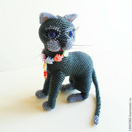 Игрушки животные, ручной работы. Ярмарка Мастеров - ручная работа. Купить Кошка Багира из бисера. Handmade. Темно-серый