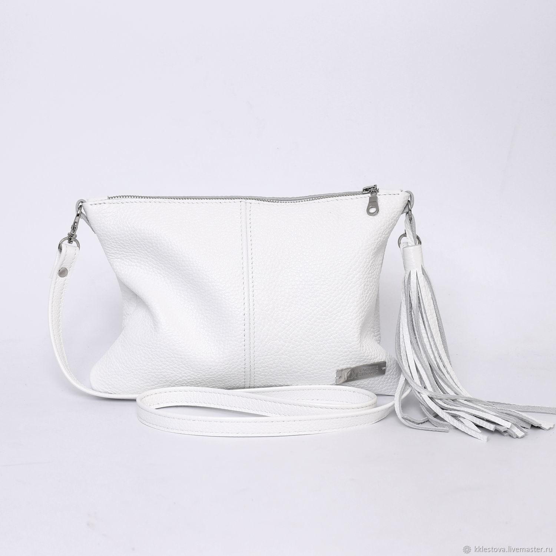 White Leather Crossbody Bag with Crossbody Shoulder Strap, Crossbody bag, Moscow,  Фото №1