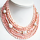 Колье, бусы ручной работы. Ярмарка Мастеров - ручная работа. Купить Пышное ожерелье из розового коралла и жемчуга Барокко. Handmade.