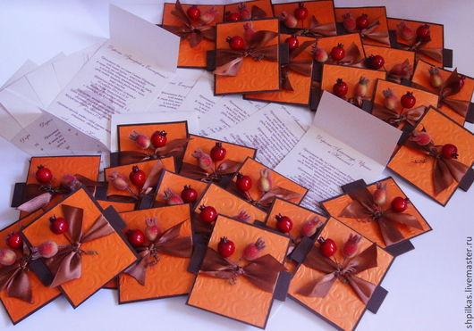 """Свадебные аксессуары ручной работы. Ярмарка Мастеров - ручная работа. Купить Приглашение на свадьбу """"Осеннее"""". Handmade. Рыжий, приглашения, скрапукрашения"""