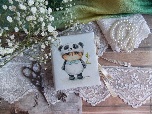 """Блокноты ручной работы. Ярмарка Мастеров - ручная работа. Купить Блокнотик """" Я Панда """" из серии """" Совушки """". Handmade."""