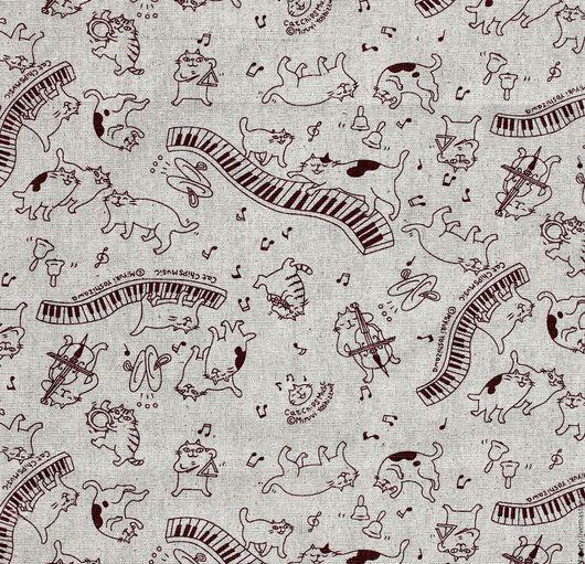 Шитье ручной работы. Ярмарка Мастеров - ручная работа. Купить Ткань лен хлопок Коты-музыканты ( прованс, кантри). Handmade.