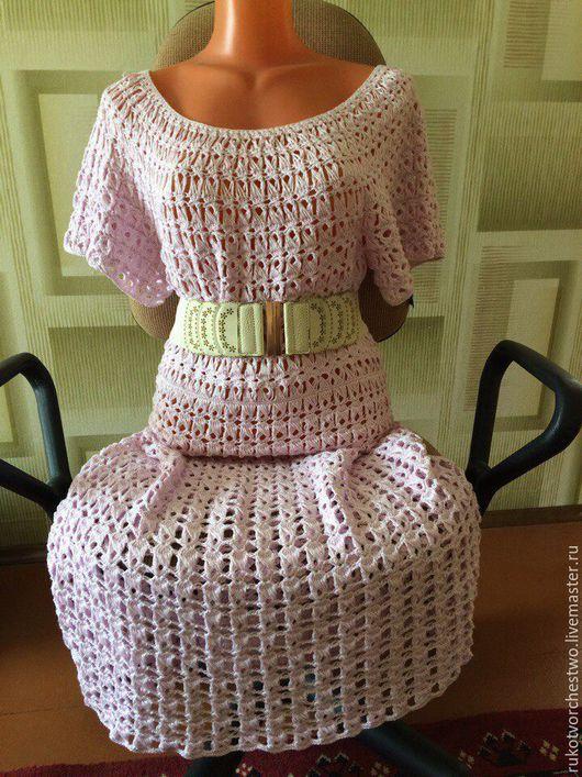 Платья ручной работы. Ярмарка Мастеров - ручная работа. Купить Платье вязаное. Handmade. Бледно-сиреневый, вязаное крючком платье