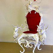Куклы и игрушки ручной работы. Ярмарка Мастеров - ручная работа Кресло (стул) для кукол и мишек белый  (масштаб 1:4) (стул для куклы). Handmade.