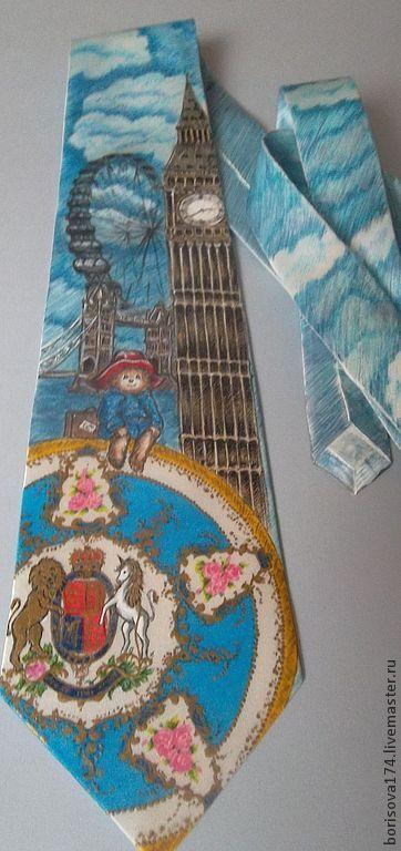 """Галстуки, бабочки ручной работы. Ярмарка Мастеров - ручная работа. Купить Галстук """"Ах, Лондон!"""". Handmade. Голубой, англия, путешествие"""