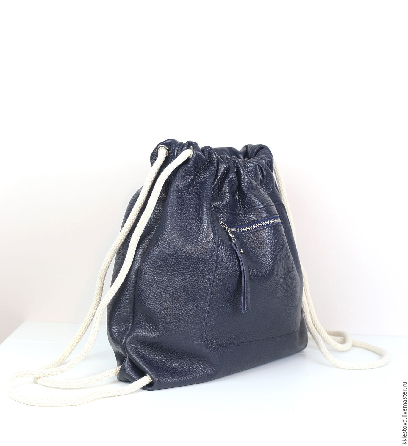 Blue Backpack small leather Bag with pocket, Backpacks, Moscow,  Фото №1