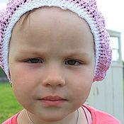 Аксессуары ручной работы. Ярмарка Мастеров - ручная работа Берет розовый крючком ажурный для девочки летний. Handmade.