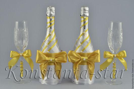 Свадебные аксессуары ручной работы. Ярмарка Мастеров - ручная работа. Купить Декор бутылок  и бокалы  в жёлтом цвете,Весёлое настроение. Handmade.