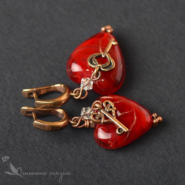 Earrings classic: Affairs of the heart lampwork, Earrings, Moscow,  Фото №1