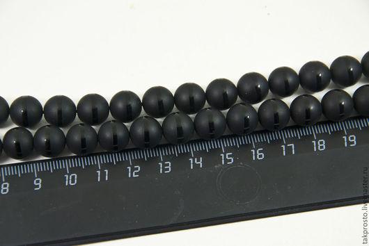 Для украшений ручной работы. Ярмарка Мастеров - ручная работа. Купить 0251. Агат черный с полосой гладкий матовый шарик 10 мм. Handmade.
