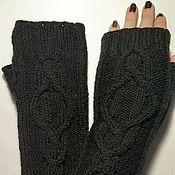 Аксессуары handmade. Livemaster - original item Fingerless long gloves with Arana, black. Handmade.
