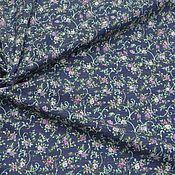 Ткани ручной работы. Ярмарка Мастеров - ручная работа ткань джинс синий  с цветами  002. Handmade.