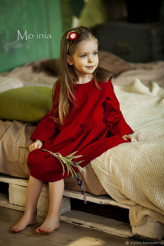Платье для девочки льняное нарядное красное, Платье, Калининград,  Фото №1