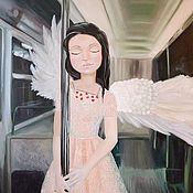 """Картины и панно ручной работы. Ярмарка Мастеров - ручная работа Авторская картина маслом """"Сонный ангел"""" 100/130см. Handmade."""