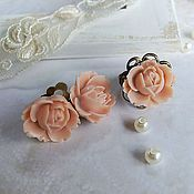 Украшения handmade. Livemaster - original item Set Ring Clips, Bronze Cream Beige Rose Vintage. Handmade.