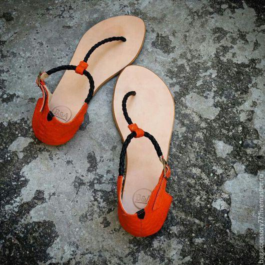 Обувь ручной работы. Ярмарка Мастеров - ручная работа. Купить Сандалии из натуральной кожи и кожи питона. Handmade. Сандалии