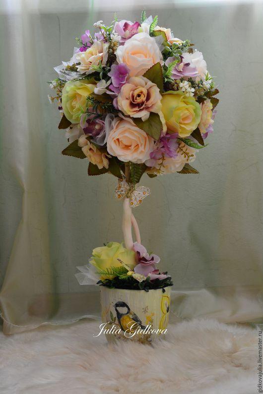 """Топиарии ручной работы. Ярмарка Мастеров - ручная работа. Купить Топиарий """"Винтажные розы"""". Handmade. Бежевый, топиарий дерево счастья"""