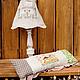 Освещение ручной работы. Ярмарка Мастеров - ручная работа. Купить лампа с льняным абажуром. Handmade. Бежевый, вышивка, винтажный стиль