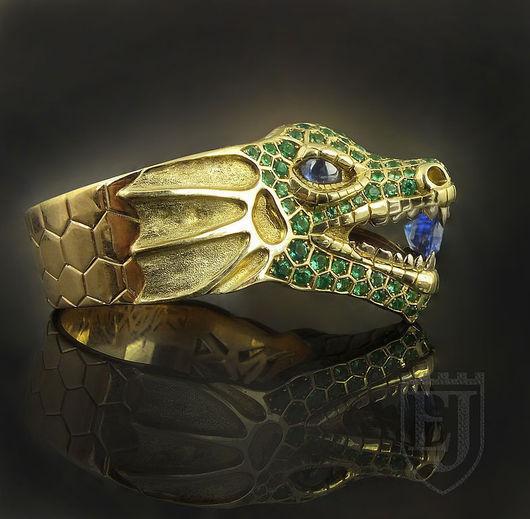 """Кольца ручной работы. Ярмарка Мастеров - ручная работа. Купить Кольцо """"Изумрудный Дракон"""". Handmade. Ярко-зелёный, изумрудный дракон"""