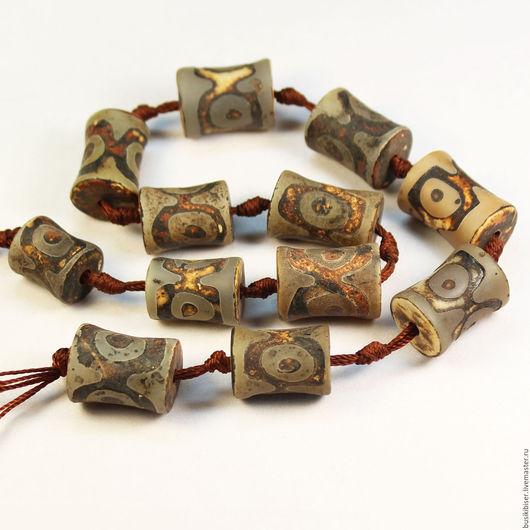 Бусины из агата тибетского Дзи матовые
