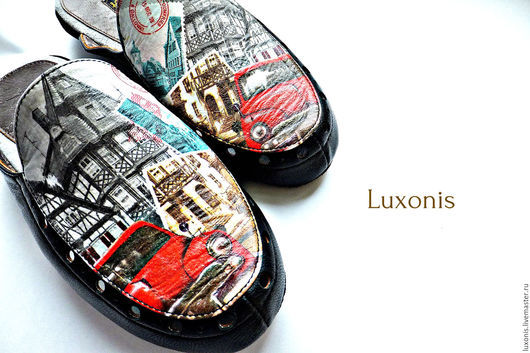 """Обувь ручной работы. Ярмарка Мастеров - ручная работа. Купить Домашняя обувь """"Ретромобиль"""". Handmade. Чёрно-белый, ретро стиль"""