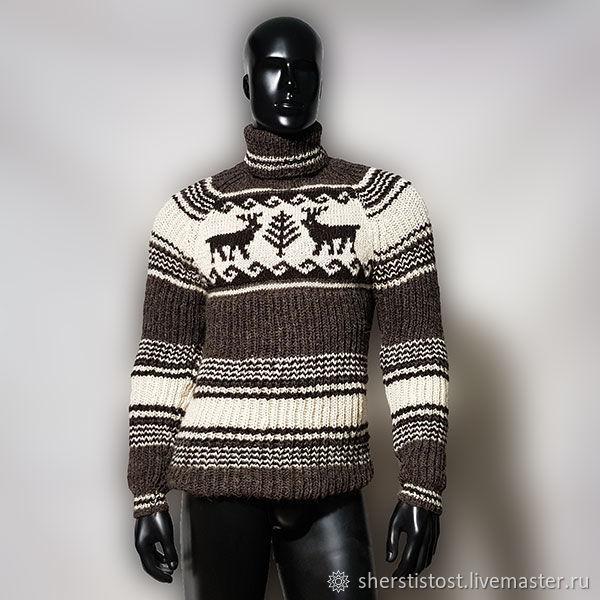 """Шерстяной свитер """"Северные олени"""", Свитеры мужские, Нальчик,  Фото №1"""