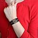 Браслеты ручной работы. Кожаный браслет из бисера Дикий В7. Авторская работа. Лаконичные украшения и аксессуары. Ярмарка Мастеров. бисер