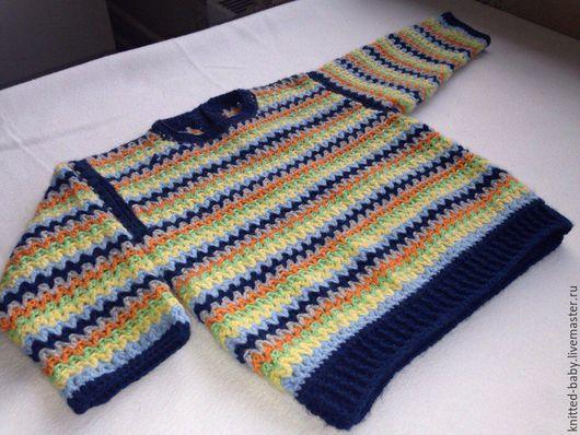 """Одежда унисекс ручной работы. Ярмарка Мастеров - ручная работа. Купить Джемпер детский """"Зигзаги"""". Handmade. Разноцветный, вязаный джемпер"""