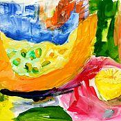 """Картины ручной работы. Ярмарка Мастеров - ручная работа Детский рисунок. Натюрморт. """"Тыковка"""". Handmade."""