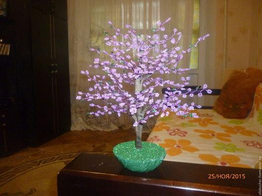 Статуэтки ручной работы. Ярмарка Мастеров - ручная работа. Купить Цветущее дерево. Handmade. Сиреневый, бисер, Дерево из бисера, гипс