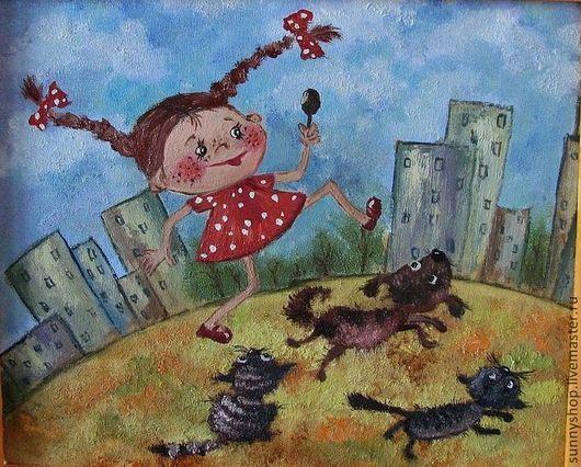 """Детская ручной работы. Ярмарка Мастеров - ручная работа. Купить Картина в детскую """"Девочка в городе"""" (масло). Handmade."""