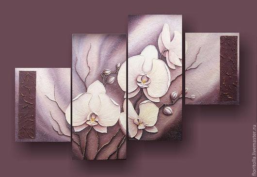 """Картины цветов ручной работы. Ярмарка Мастеров - ручная работа. Купить """"Белые орхидеи"""" фреска. Handmade. Бежевый, гостинная"""