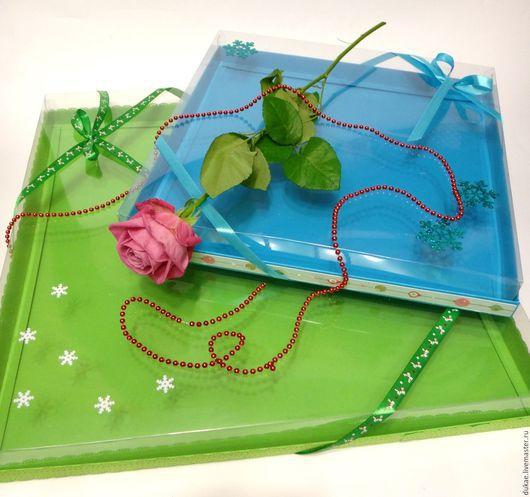Подарочная упаковка ручной работы. Ярмарка Мастеров - ручная работа. Купить Коробка с прозрачным верхом. Handmade. Разноцветный, Дизайнерский картон