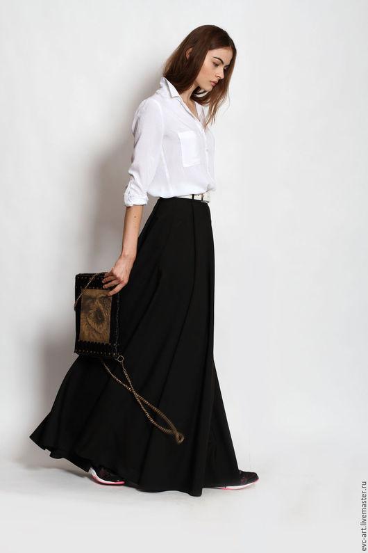 Юбки ручной работы. Ярмарка Мастеров - ручная работа. Купить юбка в пол черная. Handmade. Черный, юбка длинная