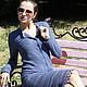 """Платья ручной работы. Ярмарка Мастеров - ручная работа. Купить Платье вязаное """"Шелковые грезы"""". Handmade. Тёмно-синий"""