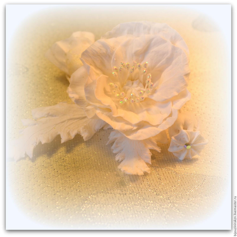 Бутоньерка для жениха, брошь с белым маком, Броши, Казань, Фото №1