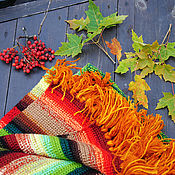"""Для дома и интерьера ручной работы. Ярмарка Мастеров - ручная работа Комплект коврик  и подушки """"Осенний"""""""". Handmade."""