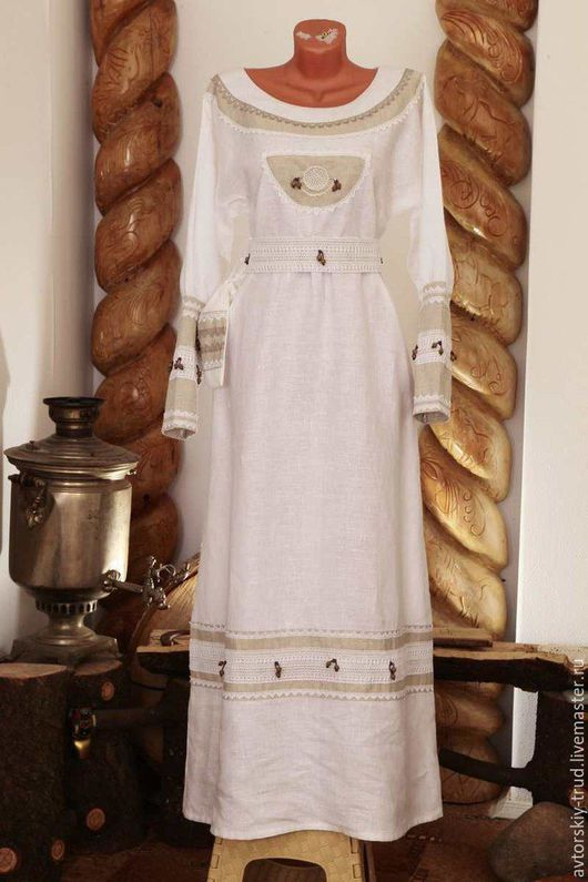 Платье Лада-5.100%лён.ручная вышивка,украсы-бисер ,деревянные бусины.Продаётся -готовое. Алла Карпоносова Мастер по пошиву одежды.Разработчик славянской-народной современной одежды .