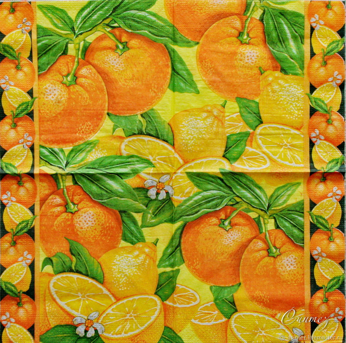 14pcs napkins for decoupage citrus Paradise print, Napkins for decoupage, Moscow,  Фото №1