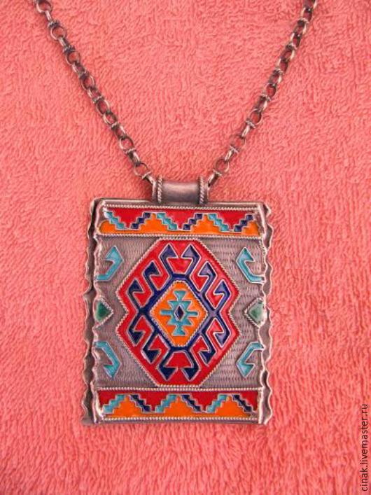 Кулоны, подвески ручной работы. Ярмарка Мастеров - ручная работа. Купить Кулон из серебра с эмалью - армянские мотивы. Handmade. Разноцветный