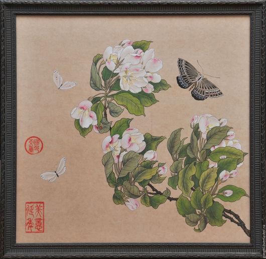 Картины цветов ручной работы. Ярмарка Мастеров - ручная работа. Купить Картина цветущая яблоня и бабочки в стиле китайской живописи гунби. Handmade.