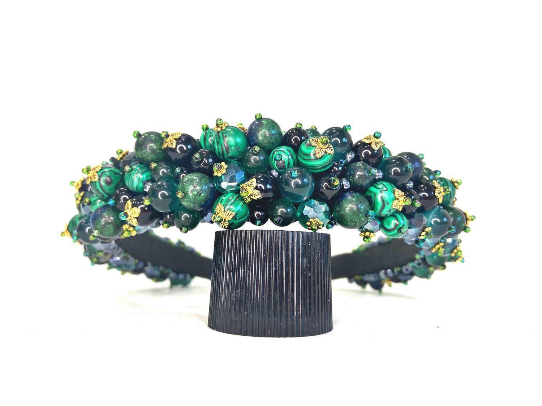 Rim of beads and stones (malachite, cat's eye), Headband, Moscow,  Фото №1