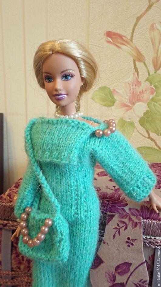 Одежда для кукол ручной работы. Ярмарка Мастеров - ручная работа. Купить Теплый комплект для Барби. Handmade. Зеленый, одежда для барби