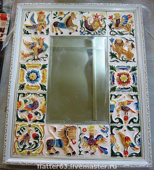 Зеркала ручной работы. Ярмарка Мастеров - ручная работа. Купить Зеркало декорированное изразцами ручной работы. Handmade. Изразцы