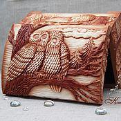 """Для дома и интерьера ручной работы. Ярмарка Мастеров - ручная работа Шкатулка из дерева """"Влюбленные совы"""". Handmade."""