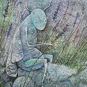 Картины и панно ручной работы. Ярмарка Мастеров - ручная работа Хранитель  лавандовых сказок... Картина-принт на холсте.. Handmade.
