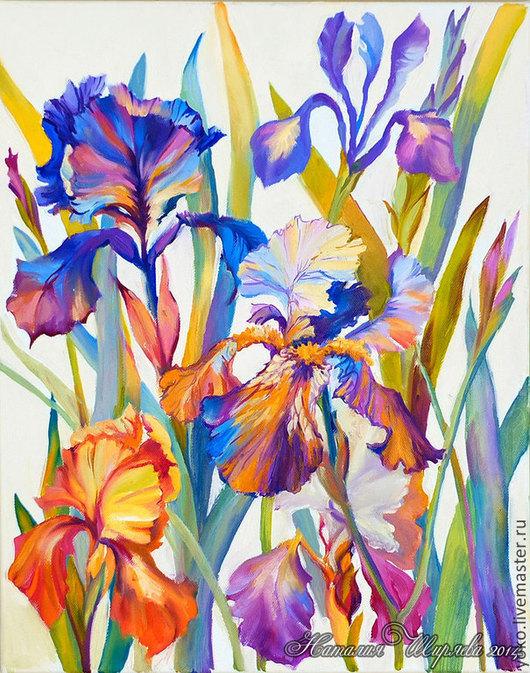 """Картины цветов ручной работы. Ярмарка Мастеров - ручная работа. Купить Картина с ирисами """"Дуновение Ароматного Ветра"""" (холст, масло). Handmade."""